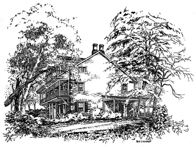 Pencil sketch of the Benjamin Mansion which begin the New Cumberland Public Library