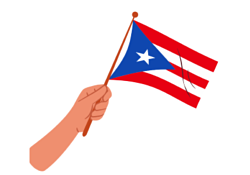 hand holding Puerto Rican flag