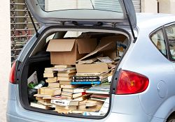 car filled with books