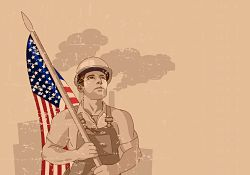 worker holding American flag