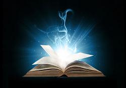 open book radiating light