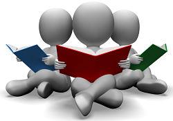 illustration of people reading books