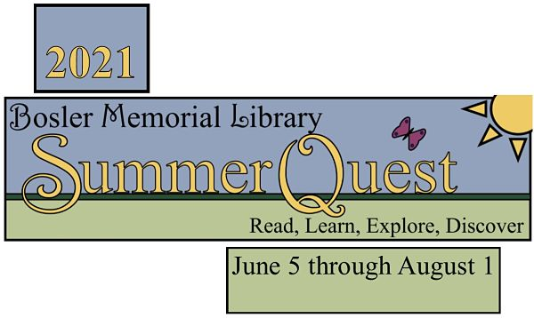 2021 Bosler Memorial Library SummerQuest -- Read, Learn, Explore, Discover -- June 5 through August 1