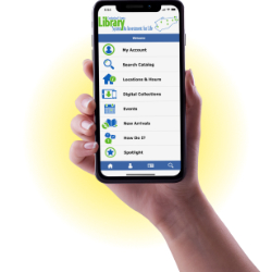 Hand holding a smart phone with an example of the app