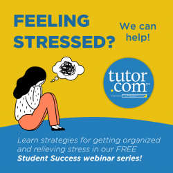 Feeling Stressed? We can help! Learn strategies for getting organized and relieving stress in our FREE Student Success Webinar Series!