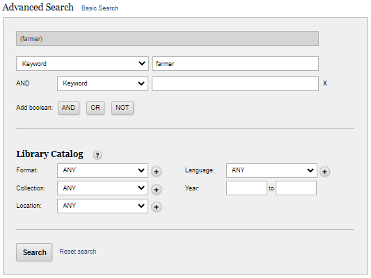 Advanced Search panel example