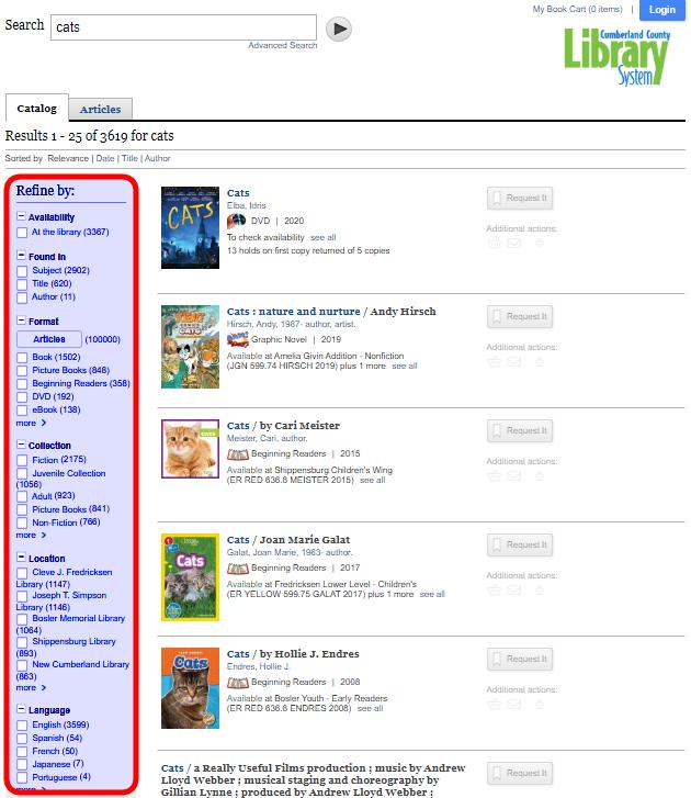 Refine Search example