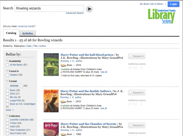 Search results page example for Rowling Wizards