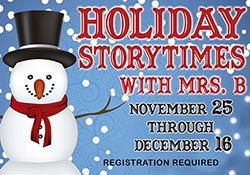 Snowman with event title and dates