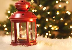 red lantern on white carpet