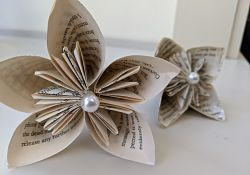 origami flower from old book
