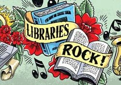 Libraries Rock Slogan with books