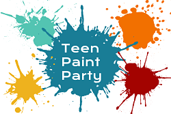 """paint splatters with text """"teen paint party"""""""