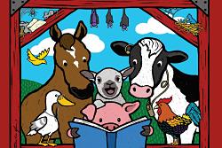 Farm animals inside a barn