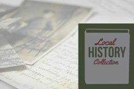 """Old letter and photographs with """"Local History Room"""" in writing"""