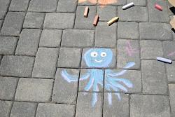 sidewalk with chalk drawings