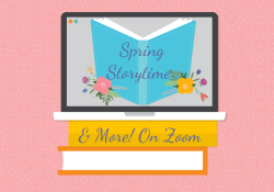 """Computer with book and words """"spring storytime"""""""