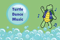 bubbles and cartoon turtle with music notes