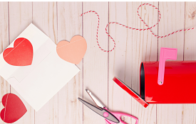 scissors, hearts, and craft supplies