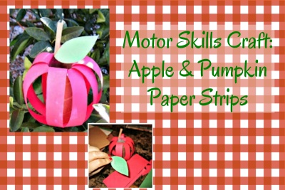 Apple Craft with paper strips and toilet paper tube