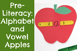 Short vowel apple craft with popsicle stick