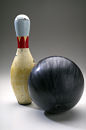 Bowling ball and pin.