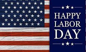 American flag with the text Labor Day