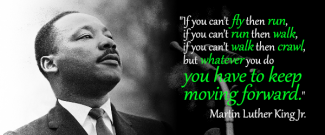 If you can't fly then run, if you can't run then walk, if you can't walk then crawl, but whatever you do you have to keep moving forward. - Martin Luther King Jr